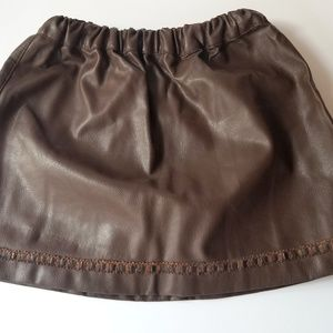 Faux Brown Leather Skirt from FeFe Italy